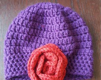 Newborn baby girls crochet rose hat