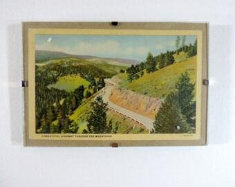 Framed vintage postcard