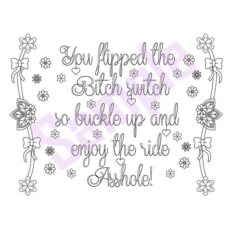 Sweary Coloring Page Buckle Up Swearing Coloring Pages