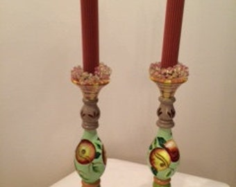 Tracy HS Porter Hand Painted Wooden Candlesticks, with Garland and Candles