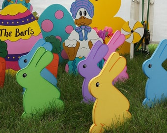 Easter Bunny Sitting Yard Art Lawn Decoration--5 Colors to choose from