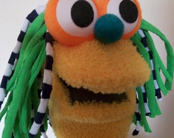 Yellow Sock puppet , Moving  mouth puppet ,  hand puppet , Therapy and Educational Puppet .