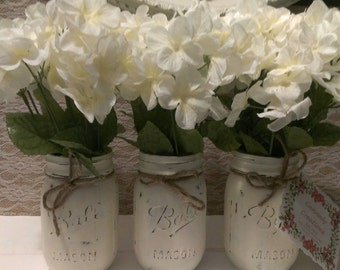 Mason jar centerpiece (Set of three)/ Country decor/ Rustic centerpieces