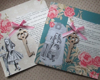 Alice in Wonderland vintage style cards x 2