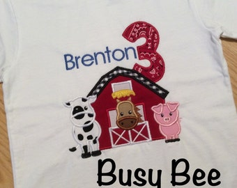 Appliqued Barnyard Cow Horse Pig Birthday Shirt