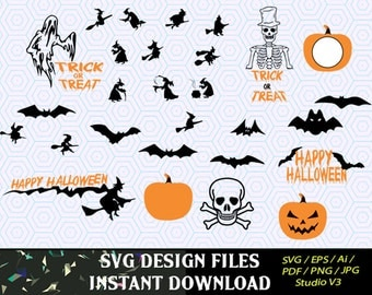 Halloween Silhouettes Trick or Treat svg, for Mugs, T Shirts, Cars  SVG files for Silhouette Cameo Cut Files, Svg  Cutting Files. SVG  Decal