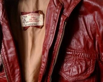 HOT! Vintage Leather Jacket with Hood