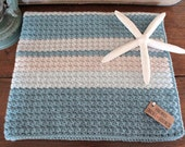 Baby Boy Crochet Blanket ~ Nautical Blue Tan Gray Stripes ~ Baby Boy Striped Stroller Blanket