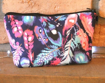 Navy and Pink Feather Print Fabric Make Up Bag / Cosmetics Pouch
