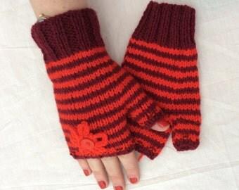 Hand Knitted handwarmers fingerless gloves handmade various colours