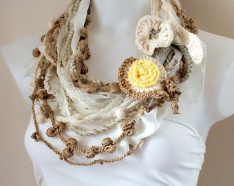 Bohemian crochet scarf Lariat scarf Fashion Lariat scarf  BOHO Fashion  Crochet necklace Spring fashion  Cift scarf