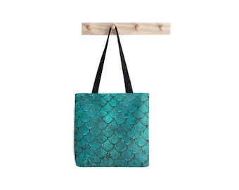 Mermaid Scales Print Tote Bag