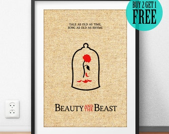 Beauty and the Beast Print, Disney Princess Belle, Tale As Old As Time, Minimalist Print, Burlap Print, Girls Home Decor, Quote Gifts, SD69