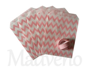 Lot of 10 bags paper pink herringbone