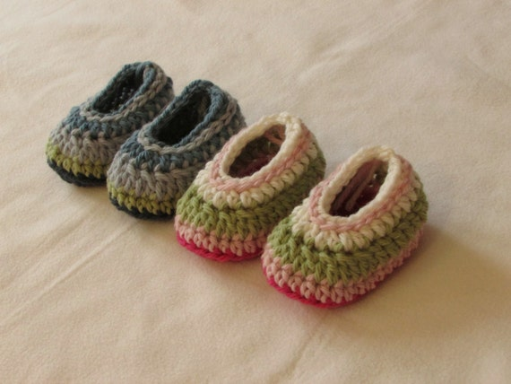 Crochet Baby Booties Written Pattern : Crochet Simple Striped Baby Booties / Shoes Written Pattern