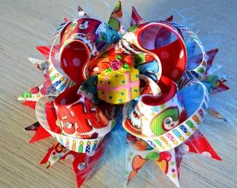 Happy Birthday Hair Bow, Lush Hair Bow, Girls Hair Bows, Kids Fashion Handmade Hair Bow
