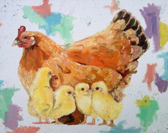 Hen and chicks oil painting