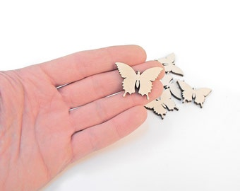 10x Mini Wooden Butterfly Shapes Wood Butterflies Embellishment Craft Decoration Gift Decoupage