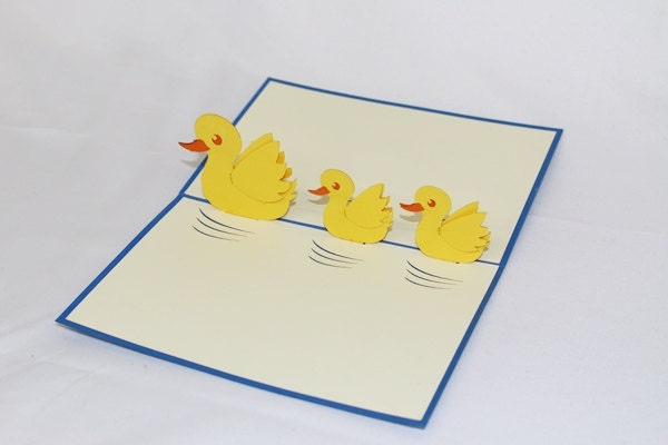 3D Duck with Baby, Pop Up Birthday Card, Pop Up Card, G