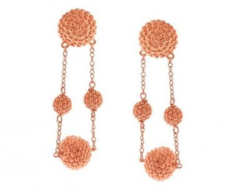 Classic Beaded Maggies in Rose Gold Over Sterling Silver