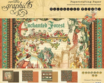 Graphic 45 8 x 8 Enchanted Forest Paper Pad - Enchanted Forest Cardstock - Graphic45 Enchanted Forest Pad - Scrapbook Paper - Paper Pad