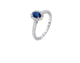 An 18 kt gold Solitaire ring-014