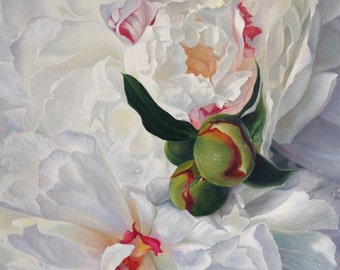 white peones flower oil painting