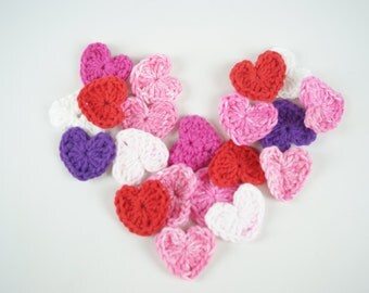 4 piece - Crocheted Heart Buttons/Appliques/Embellishments-Valentine