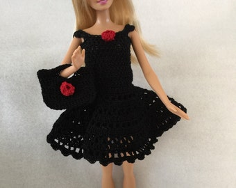 Crocheted Barbie Doll Dress with Hat and Purse