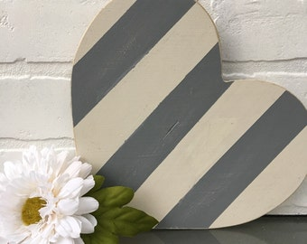 Striped Wood Heart