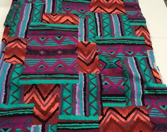 "Southwest Inspired Abstracted print in turquoise,purple,orange,black in all cotton  45"" wide 4 3/4 yard -free shipping"
