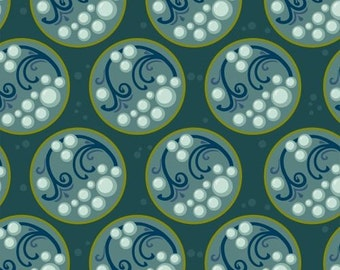 Windham Fabrics teal Cascade circle bubble in bayou quilt fabric  - sold by the yard