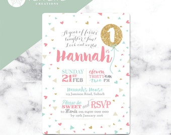 Girls Fun  1st Birthday Invitation  // 120 x 180mm // Change to any Age