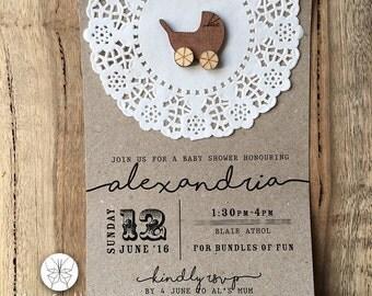 Rustic Baby Shower Invitation // Wooden Pram & Paper Doily // 120 x 180mm