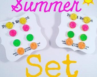 """12mm """"Summer Time"""" set of 4"""