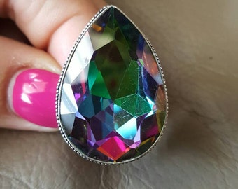 Rainbow Mystic Fire Topaz Ring- size 7.50!