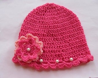 New baby born hat,crochet baby hat,cotton crochet hat,pink,handmade crochet hat