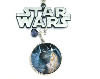 "Movie Logo Poster Star Wars Inspired Beaded Glass Dome Cabochon Charm 20"" Chain Necklace Silver Tone"