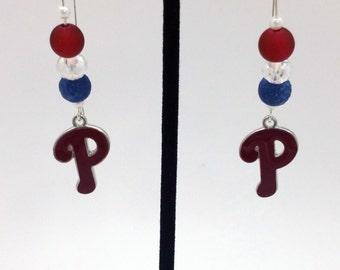 1 Pair -  Philadelphia Phillies Theme Dangle Beaded Earrings Brass Ear wire Kidney Style EAR0014