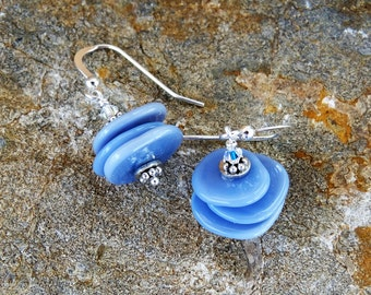 Blue Disc and Sterling Silver Handmade Lampwork Disc Dangle Earrings.  Unique and Original Periwinkle Blue Jewellery.  Made in Canada