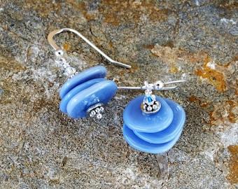 Blue Disc Dangle Earrings, Lampwork Disc Earrings, Handmade Unique Earrings, Periwinkle Blue Dangle Earrings, Sterling Silver, Dangle