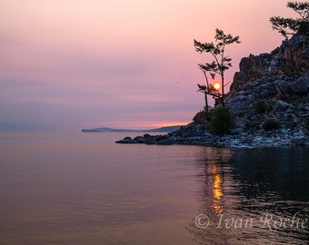 Photography, Sunrise on the banks of Lake Baikal, Fine art photography
