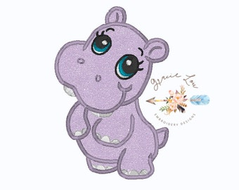 Hippo Embroidery Design