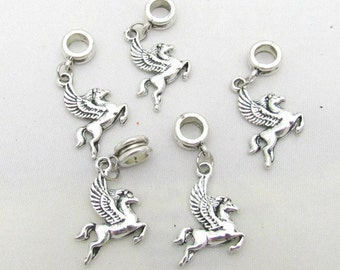 5 Antique Silver Pegasus Euro Dangle Charm/Pendant Beads
