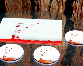 Red Love Lighthouse Coasters: set of 4