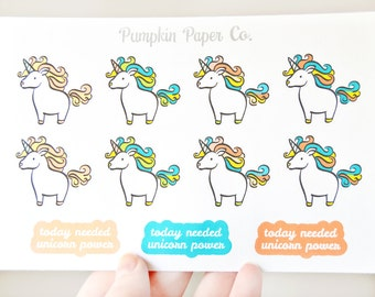 P198-Unicorn planner stickers, planner stickers, rainbow stickers, summer stickers, kikki k, filofax, kawaii, 11 stickers, PPC144
