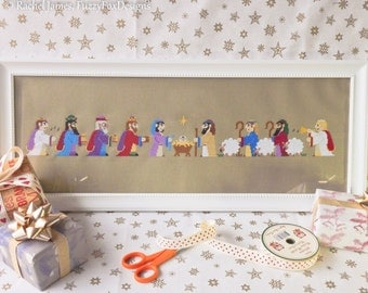 Christmas Nativity Panel Cross Stitch Pattern PDF | Christian Christmas | Easy | Modern | Beginners Counted Cross Stitch | Instant Download