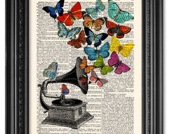 Butterflies Gramophone print, Dictionary art print, Vintage book art print, upcycled dictionary page, Home Wall Decor, Gift poster [ART 088]