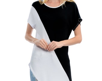 Black and White Low Tail Tee