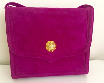 Vintage fuchsia crossbody handbag